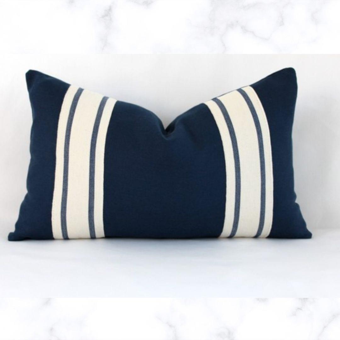 """Striped Lumbar Linen Pillow Cover, Navy Blue, 12""""x20"""""""