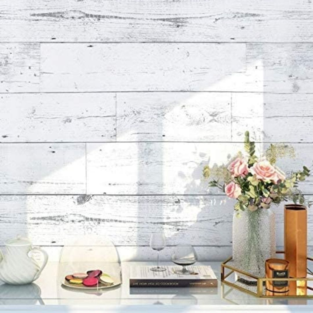 HaokHome Light Grey/White Distressed Wood Plank Removable Wallpaper