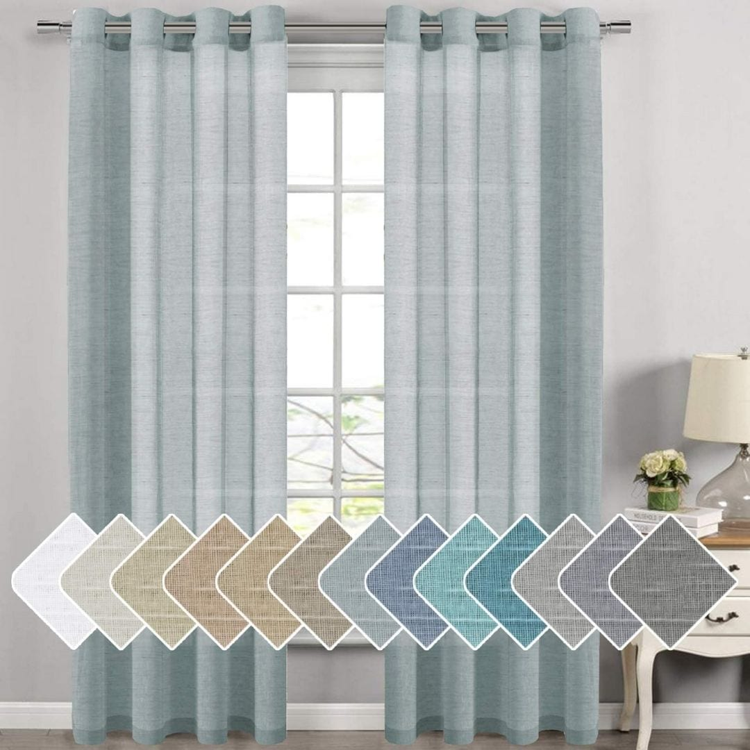 Nickel Grommet Linen Sheer Curtains - 2 Pieces
