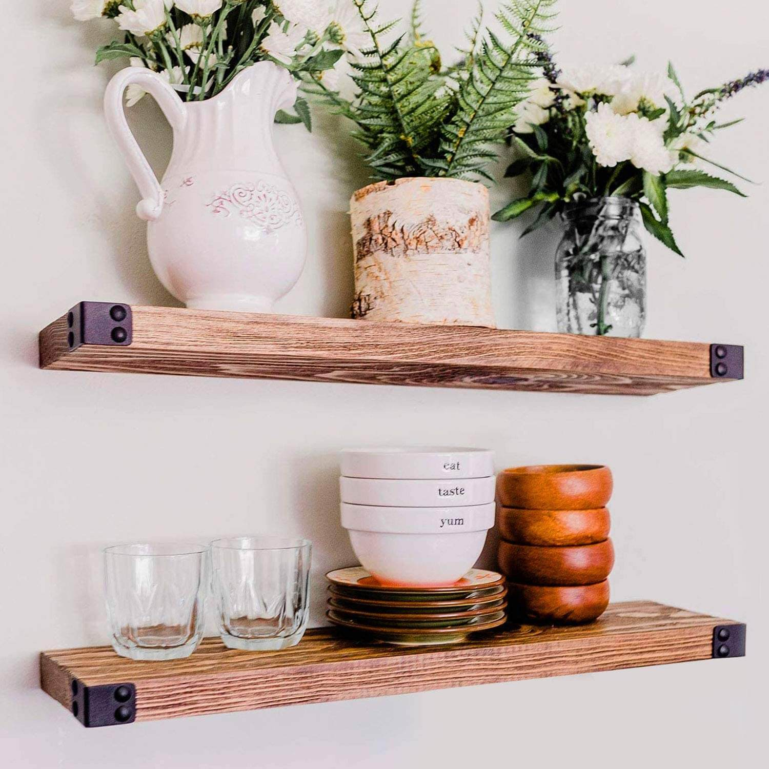 WILLOW & GRACE DESIGNS Floating Shelves for Wall Mounted, Modern Rustic All Wood Wall Shelves, Set of 2