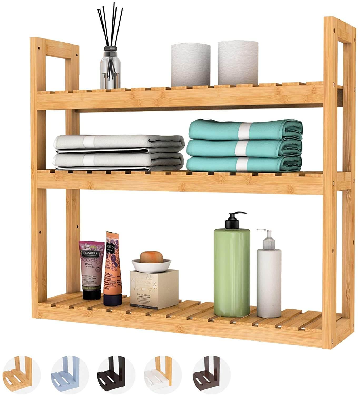 Domax Bamboo Bathroom Shelf 3-Tier Wall Mount Storage Rack Multifunctional