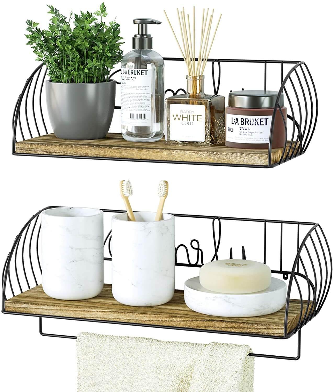 Alsonerbay Bathroom Wood Shelves with Towel Bar Set of 2
