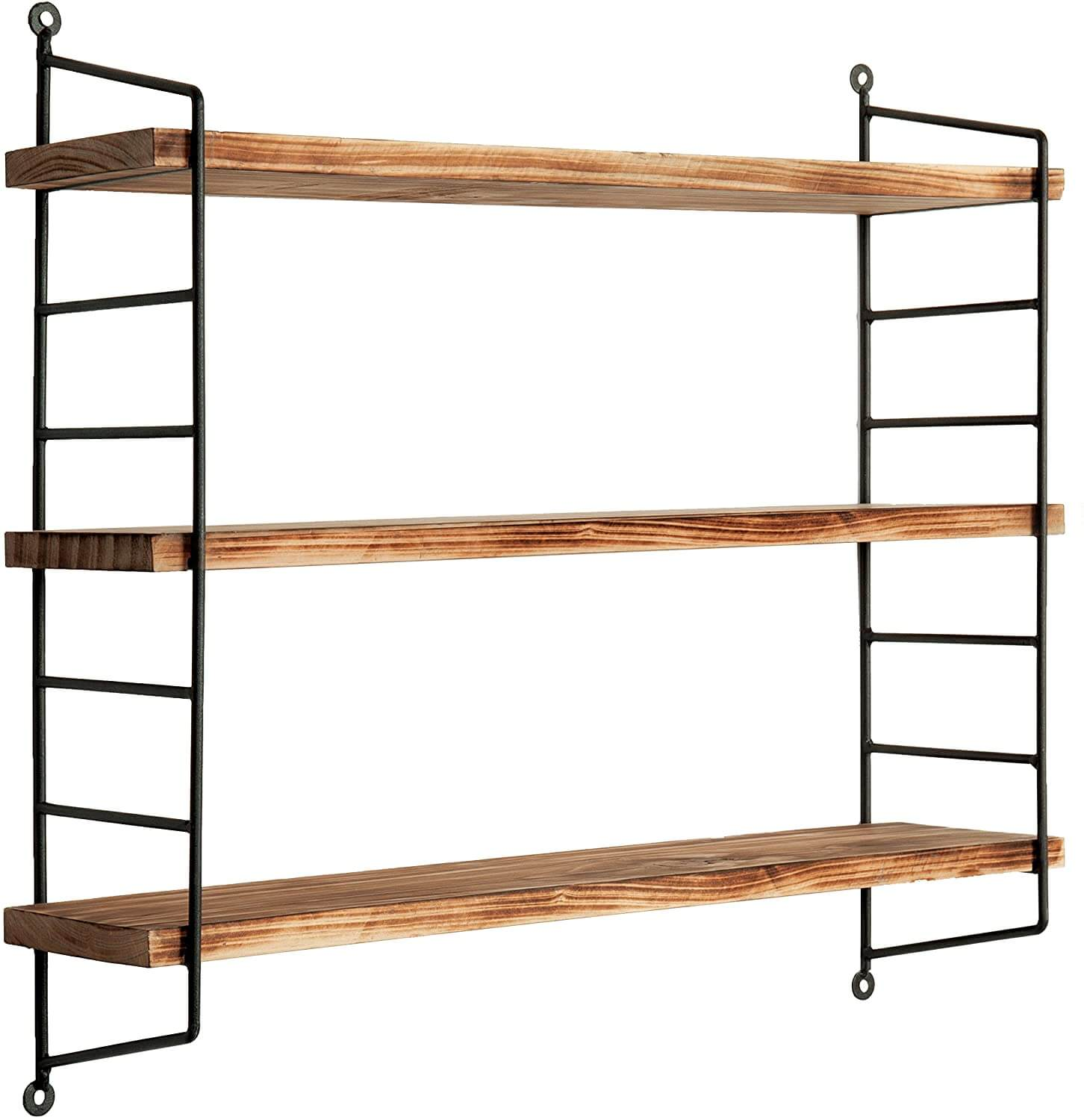 23-Inch Modern Industrial Metal and Torched Wood Adjustable Wall Mounted 3-Tier Display