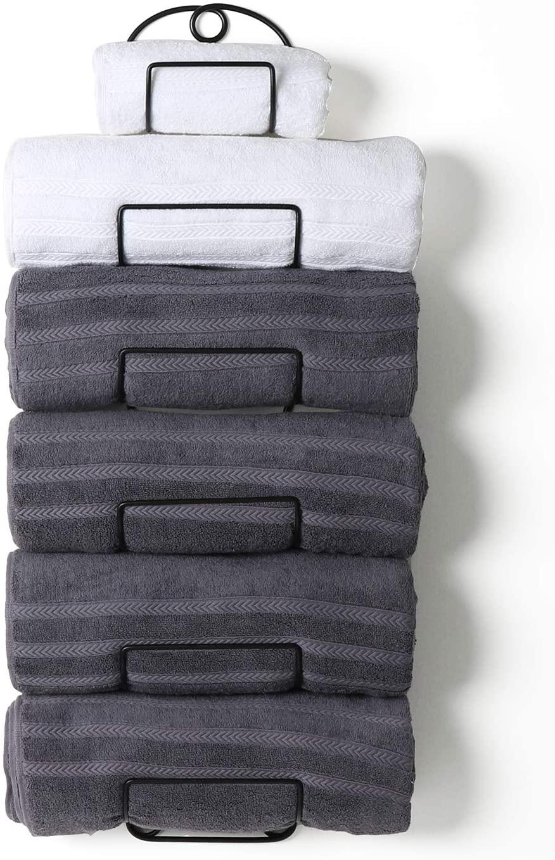 SODUKU Towel Rack Wall Mounted Metal Towel Shelf for Bathroom Black